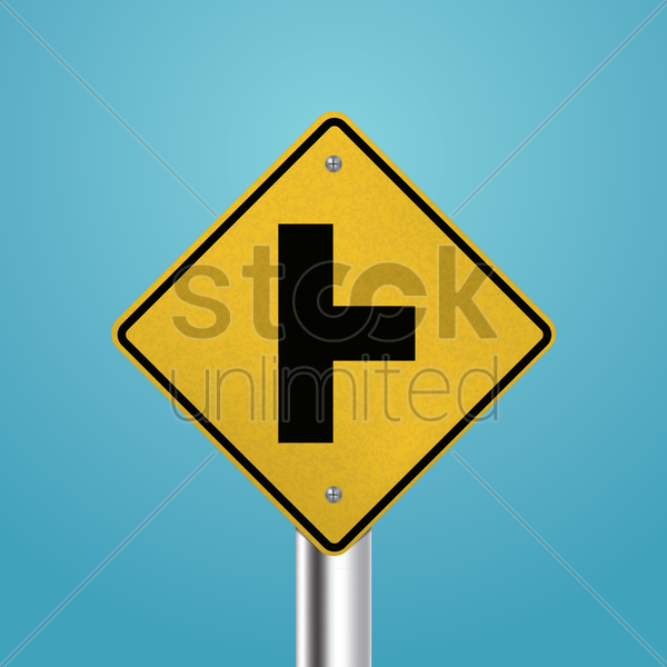 t intersection right signboard vector graphic