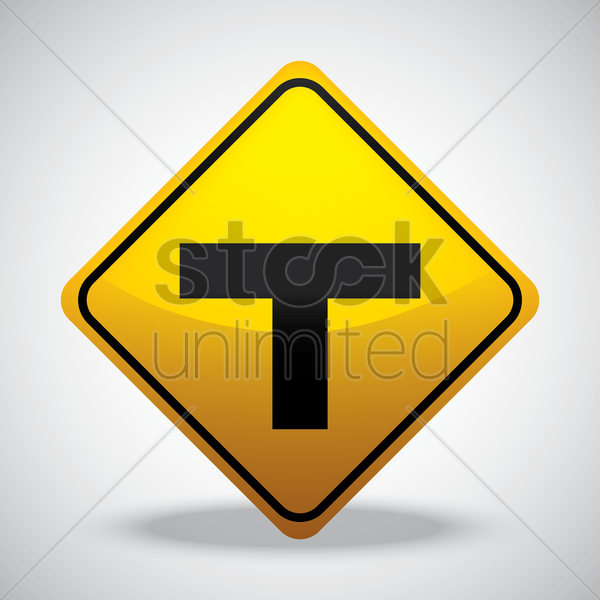 t intersection road sign vector graphic