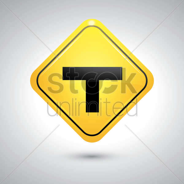t intersection sign vector graphic