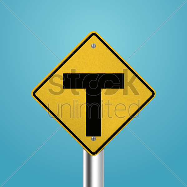 t intersection signboard vector graphic