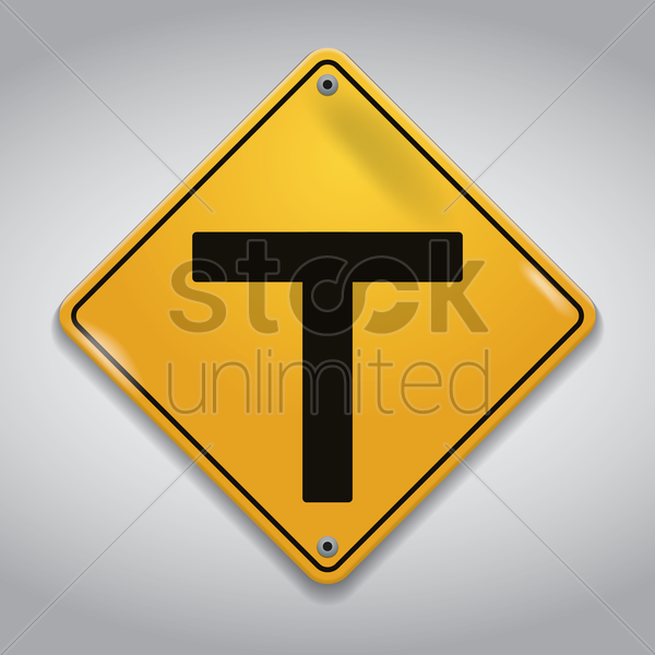 t intersection warning sign vector graphic