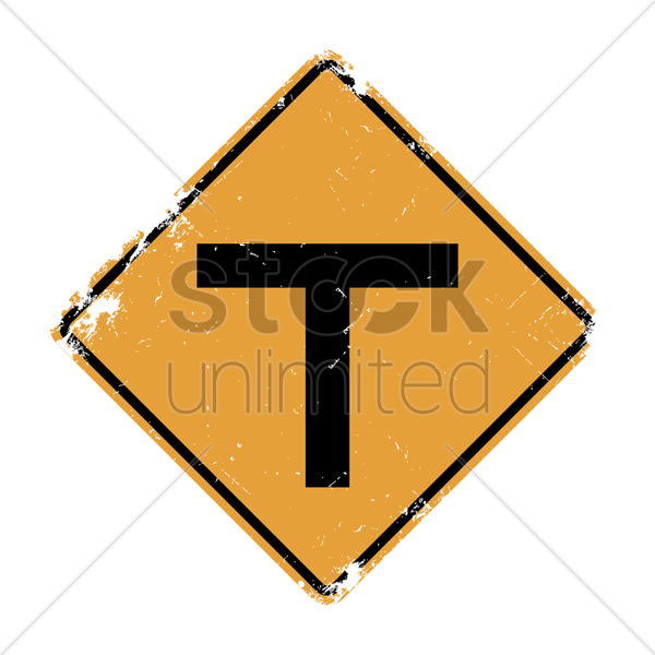 t roads sign vector graphic