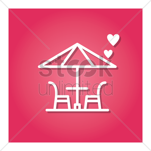 table and chair with umbrella vector graphic