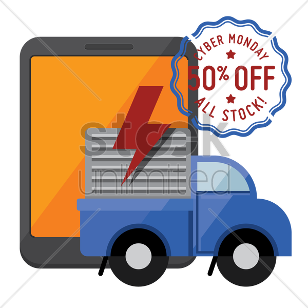 tablet and delivery truck with cyber monday sale stamp vector graphic