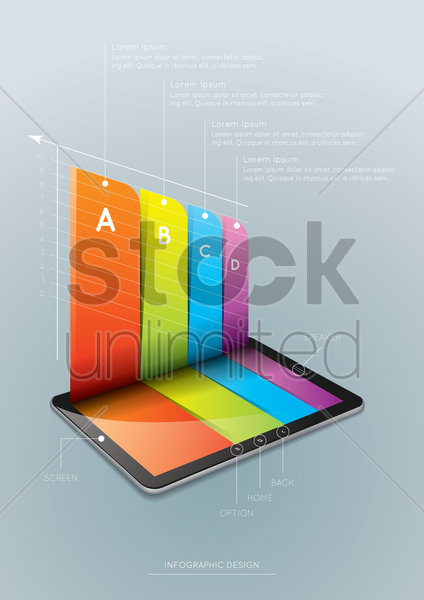 tablet infographic design vector graphic