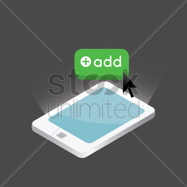 tablet with add button design vector graphic
