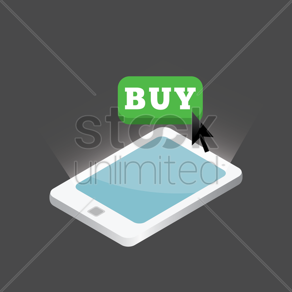 tablet with buy button design vector graphic
