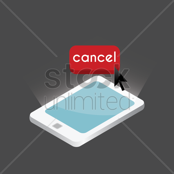 tablet with cancel button design vector graphic