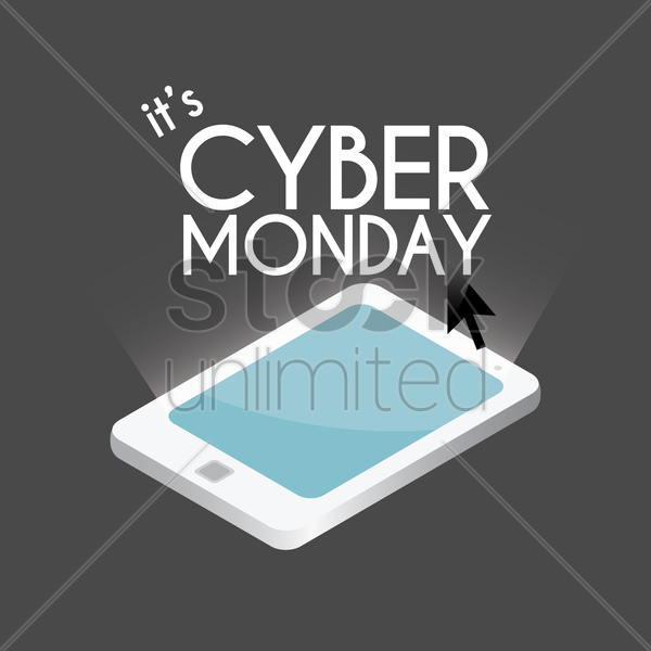 tablet with cyber monday sale design vector graphic