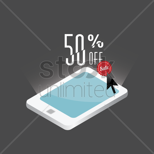 tablet with fifty percent sale design vector graphic