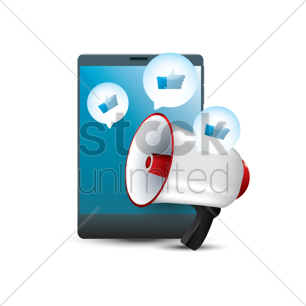 tablet with megaphone vector graphic