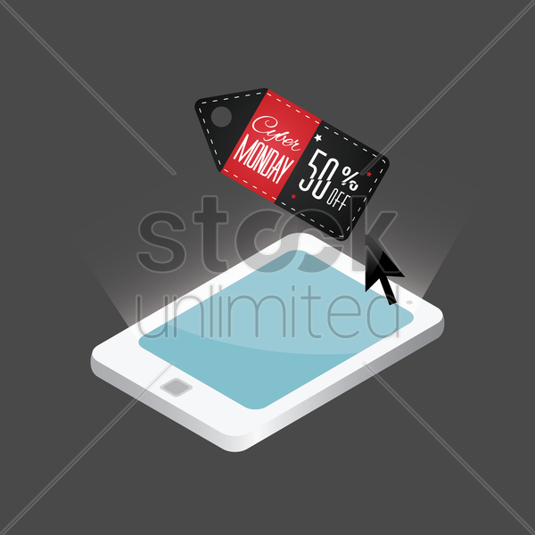 tablet with sale tag design vector graphic