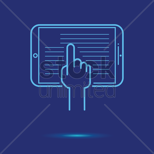 tablet with touch icon vector graphic