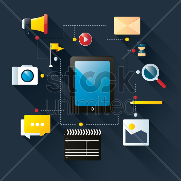 tablet with user interface icons vector graphic