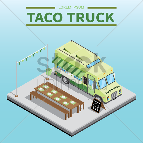 taco truck vector graphic