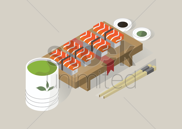 tai sushi with sauces vector graphic