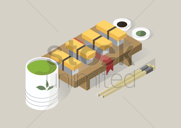 tamago sushi with sauces vector graphic