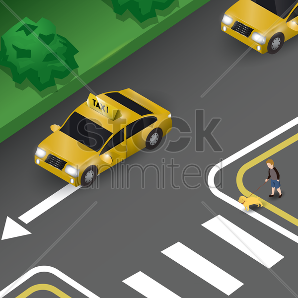 taxi on road vector graphic