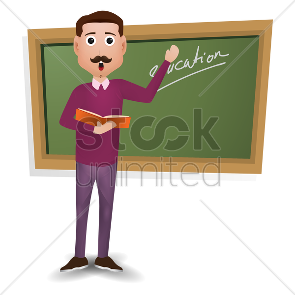teacher holding book vector graphic