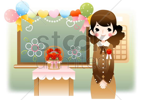 teacher in a classroom vector graphic