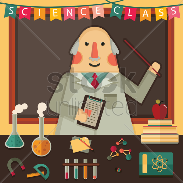 teacher in science class vector graphic