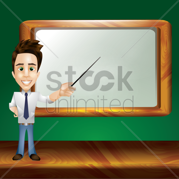 teacher pointing at whiteboard vector graphic