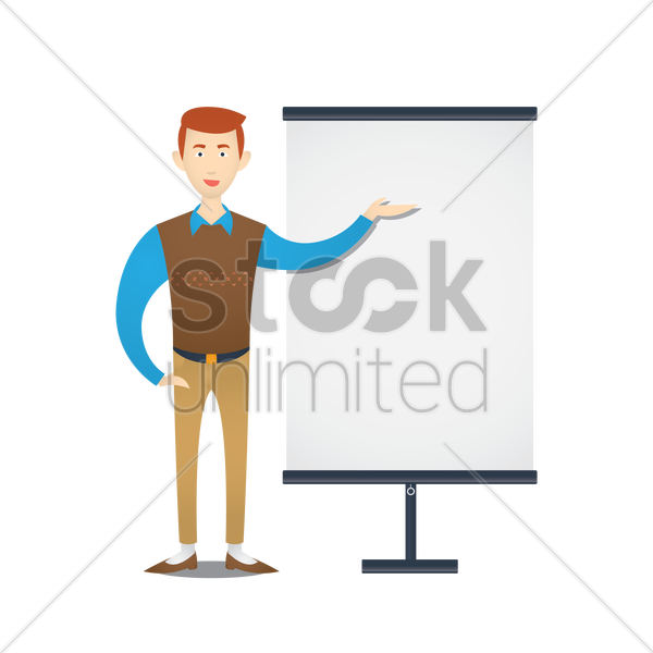 teacher standing at whiteboard vector graphic