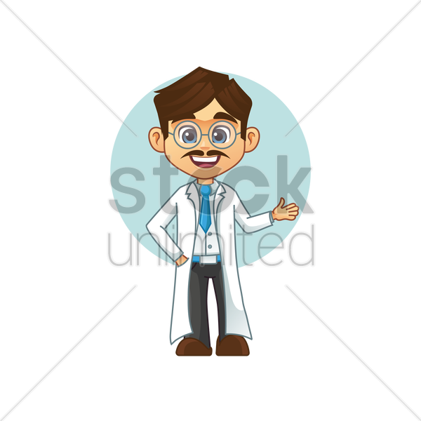 teacher wearing laboratory coat vector graphic