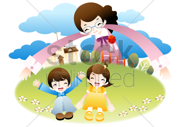 teacher with arms around school and students vector graphic