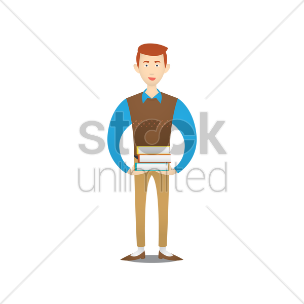 teacher with books vector graphic