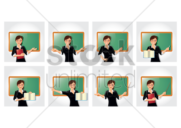 Free teacher with different gestures collection vector graphic