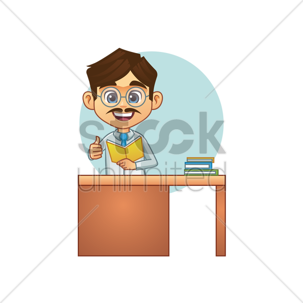 teacher with his thumb up at desk vector graphic