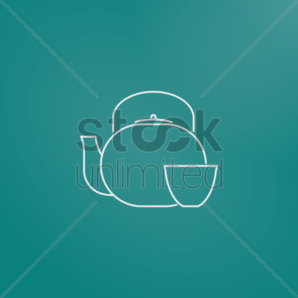 teapot and cup vector graphic
