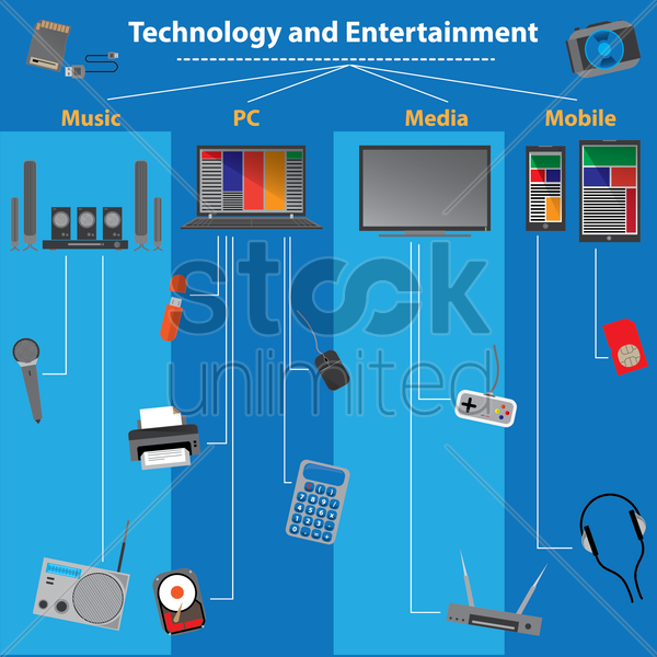 technology and entertainment infographic vector graphic