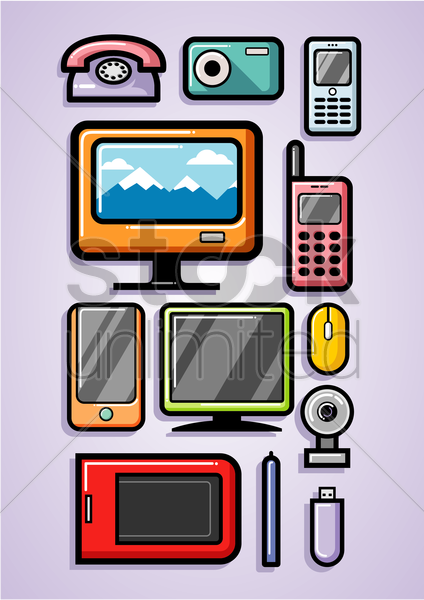 technology collection vector graphic