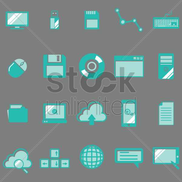 technology icon collection vector graphic