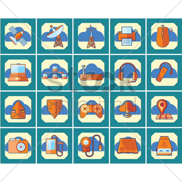 technology icon set vector graphic