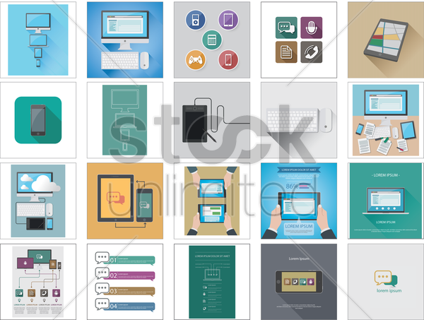 technology icons and gadgets vector graphic