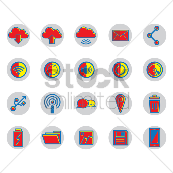 technology icons vector graphic