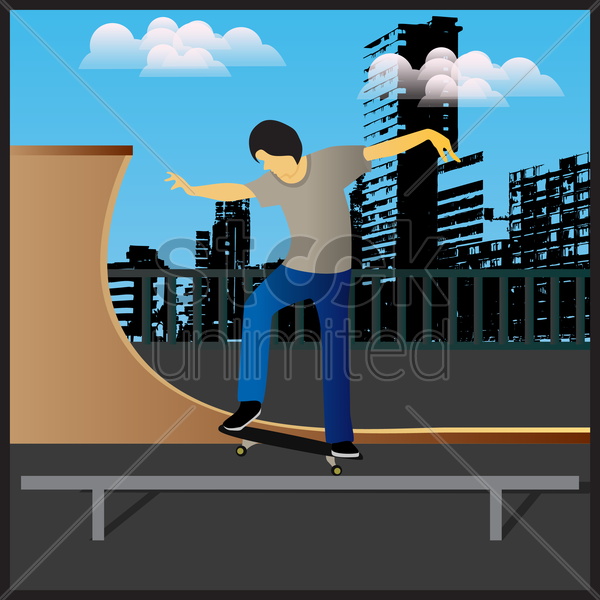 teenage boy with skateboard vector graphic