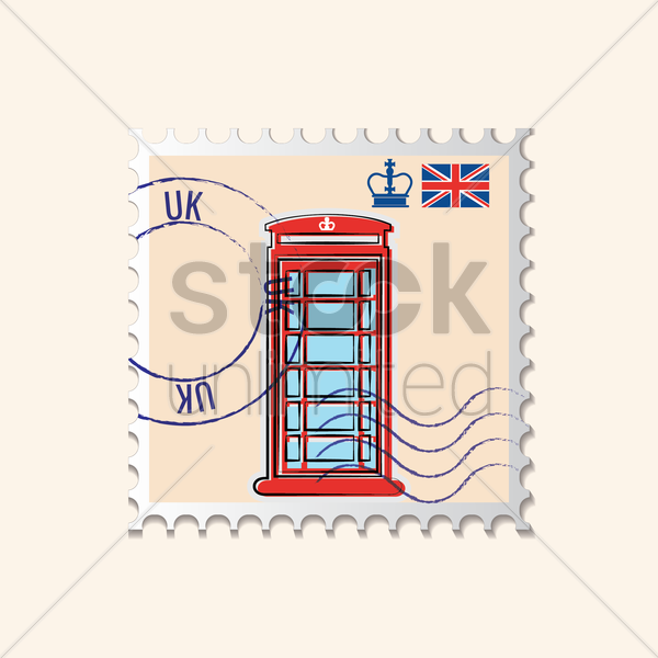 telephone box postage stamp vector graphic