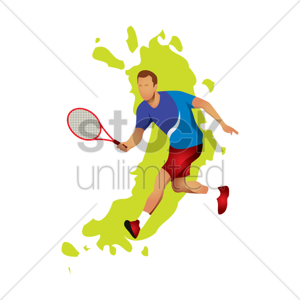tennis player playing a game vector graphic