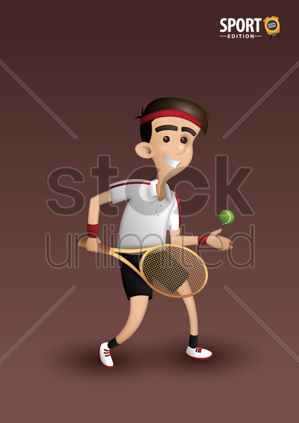 tennis player poster vector graphic