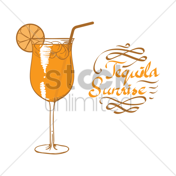 tequila sunrise cocktail vector graphic