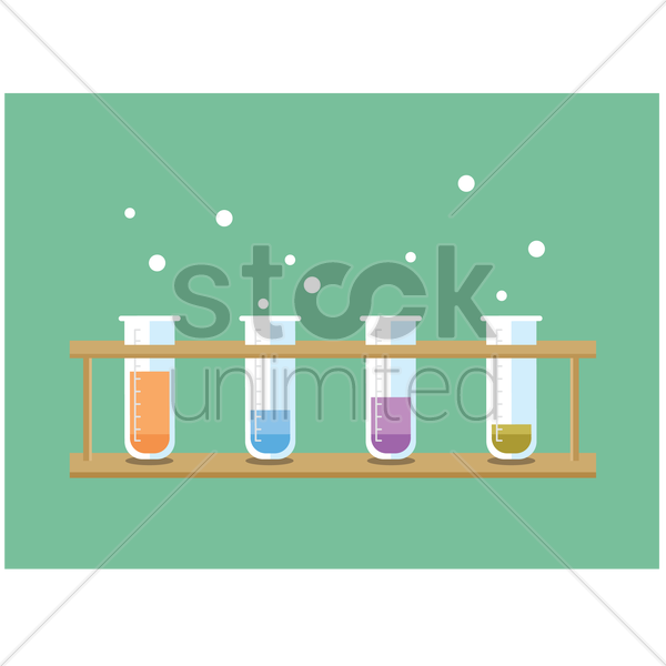 test tubes with chemicals in a rack vector graphic
