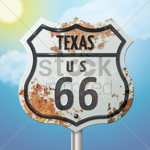 texas 66 route sign vector graphic