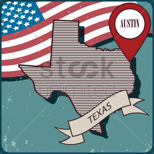 texas map label vector graphic