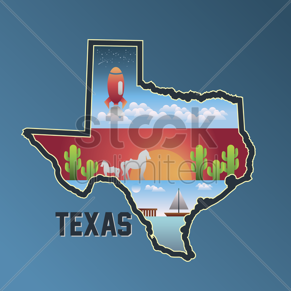 texas map vector graphic