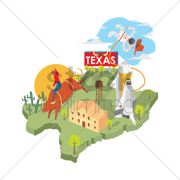 texas state map vector graphic