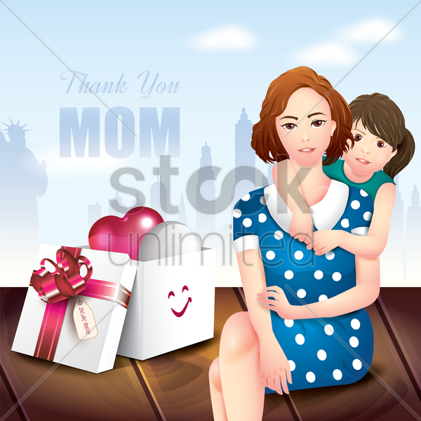 thank you mom card vector graphic